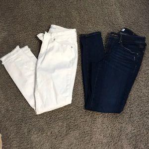 WHITE ONLY LOFT skinny jeans 0